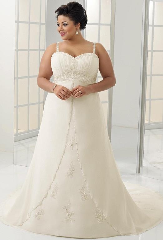 99ecb37b9f75e3f И неважно, сколько весит невеста, и какие у нее параметры фигуры. Свадебные  платья для полных девушек не должны быть похожими на простыню.