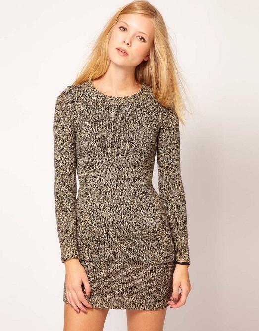 Зимнее вязаное платье
