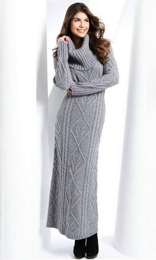 Фото зимнего вязаного платья