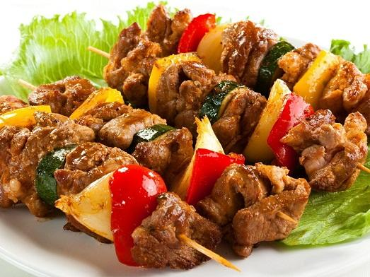homemade kebabs with vegetables photo