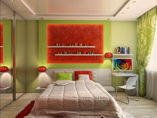 Яркие акценты в спальне фото