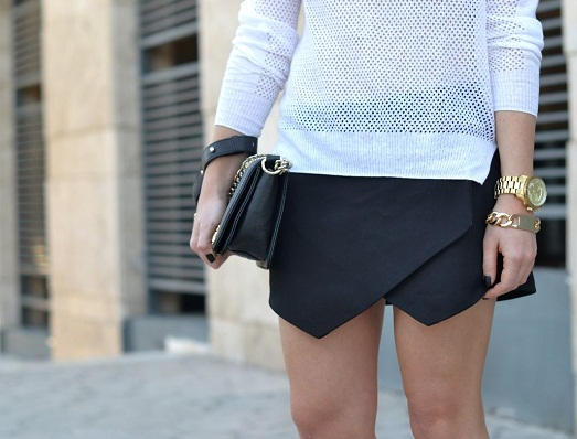 С чем лучше носить юбку-шорты? (8 фото)