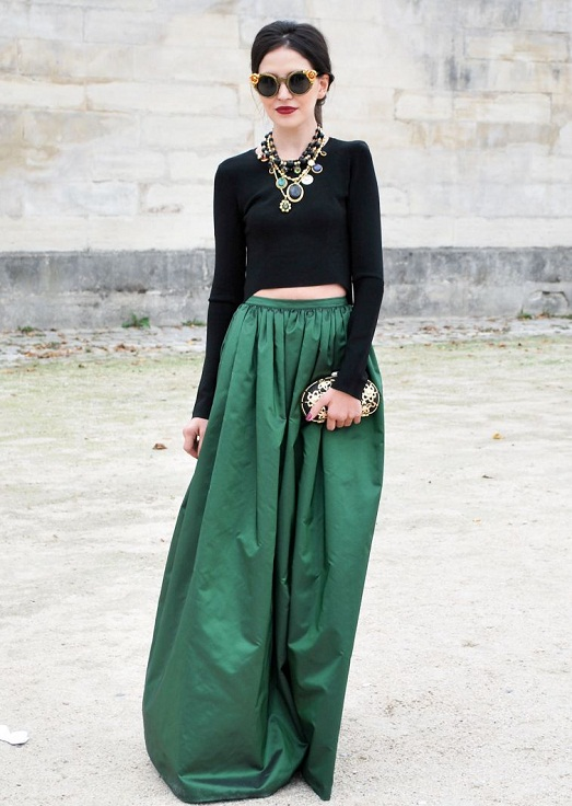 With long skirt