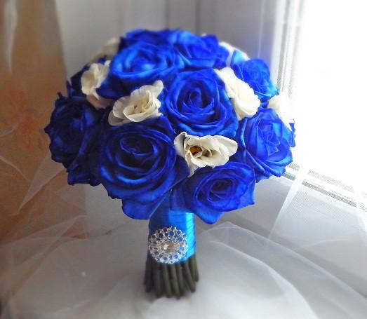 Свадебный синий букет невесты