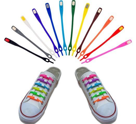 Силиконовые (резиновые) шнурки 6 шт - цвет красный