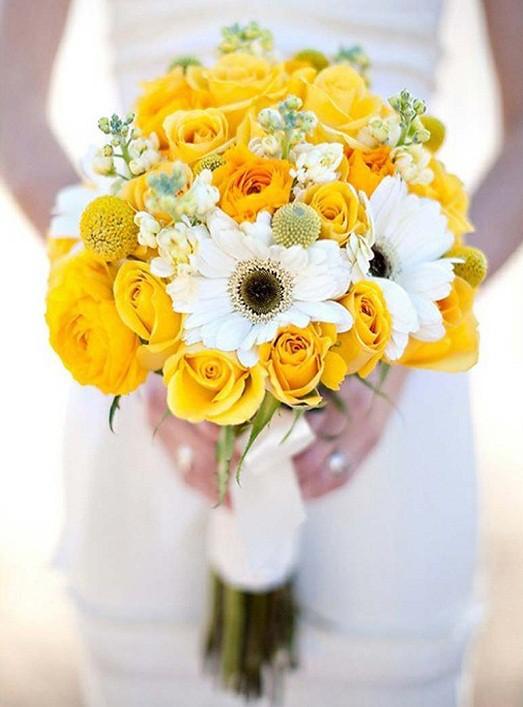 Букет невесты с жёлтыми цветами