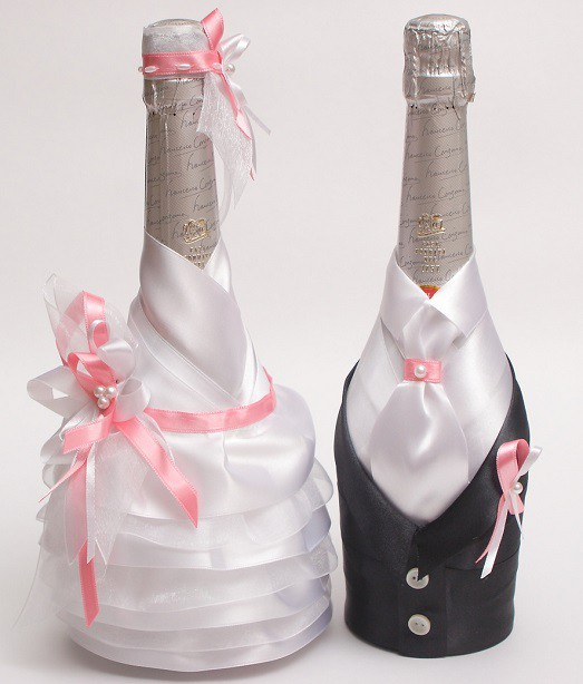 как своими руками сделать украшение на бутылку шампанского на свадьбу