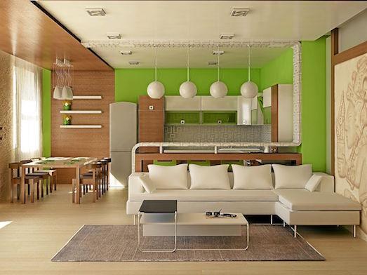Варианты дизайна кухни совмещенной с гостиной
