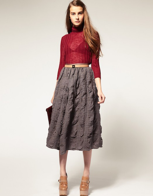 Осенние юбки ниже колена