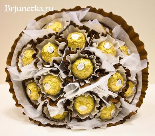 Как сделать сладкий букет из 15 конфет Ferrero rocher?