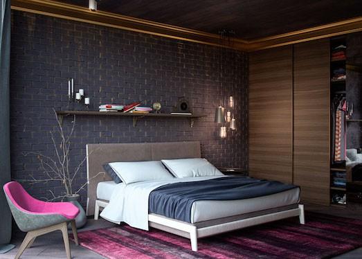 спальня с кроватью и шефонером