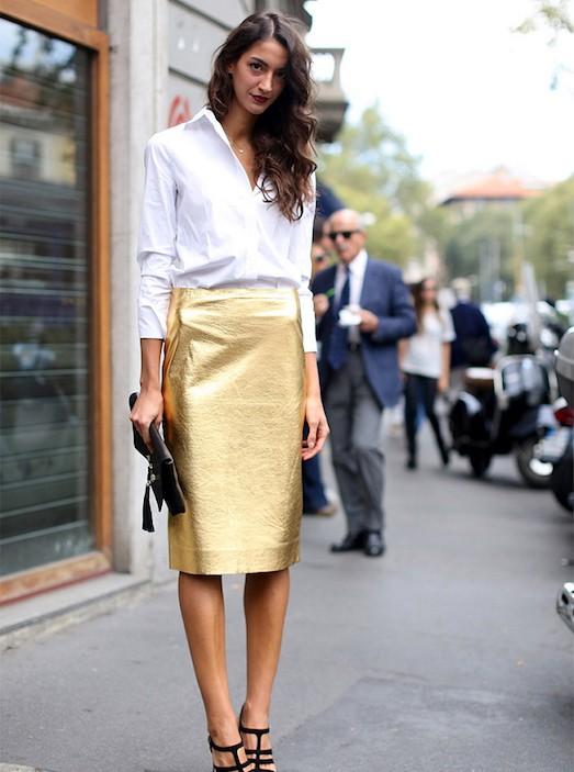Юбка золотистого цвета с чем носить