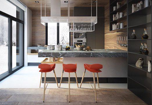 Интересные варианты дизайна кухни с барной стойкой